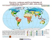 Map: Global: Climate Zones, Scenario A1F1, 2001 - 2025