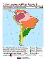 Map: A1F1 - Climate Zones (2001-2025): South America