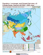 Map: A2 - Climate Zones (2001-2025): Asia