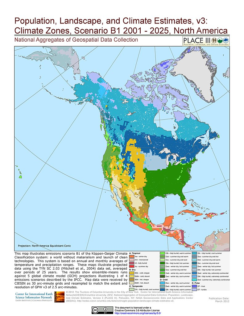 Maps  Population Landscape And Climate Estimates PLACE V - Map of n america