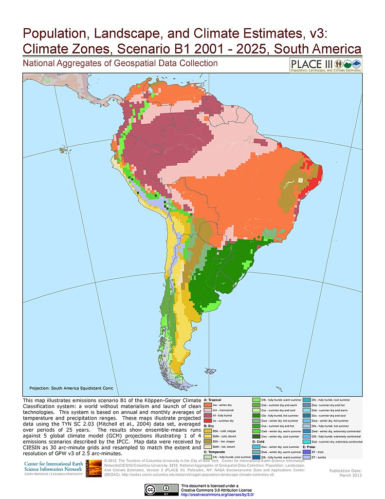 Maps Population Landscape And Climate Estimates PLACE V - South american population map