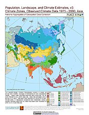 Map: Observed Climate Data - Climate Zones (1976-2000): Asia