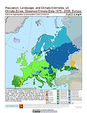 Map: Observed Climate Data - Climate Zones (1976-2000): Europe
