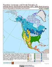 Map: Observed Climate Data - Climate Zones (1976-2000): North America