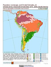 Map: Observed Climate Data - Climate Zones (1976-2000): South America