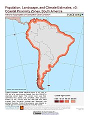 Map: Coastal Proximity Zones: South America