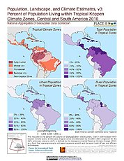 Map: % Pop in Tropical Köppen Climate Zones (2010): Central & South America