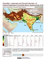 Map: % Population in Elevation Zones (2010): Southern Asia
