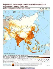Map: Population Density (1990): Asia