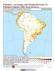 Map: Population Density (1990): South America