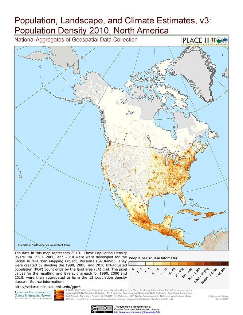 Map Gallery SEDAC - United states population density map