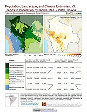 Map: Trends in Population by Biome (1990-2010): Bolivia