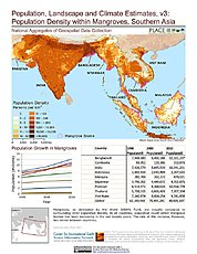 Map: Pop Density within Mangrove Biomes (2010): Southern Asia