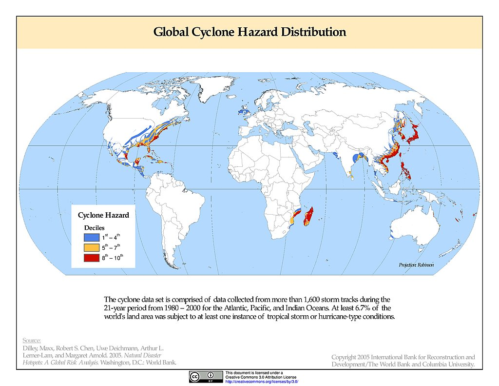 Maps » Global Cyclone Hazard Frequency and Distribution, v1 ...