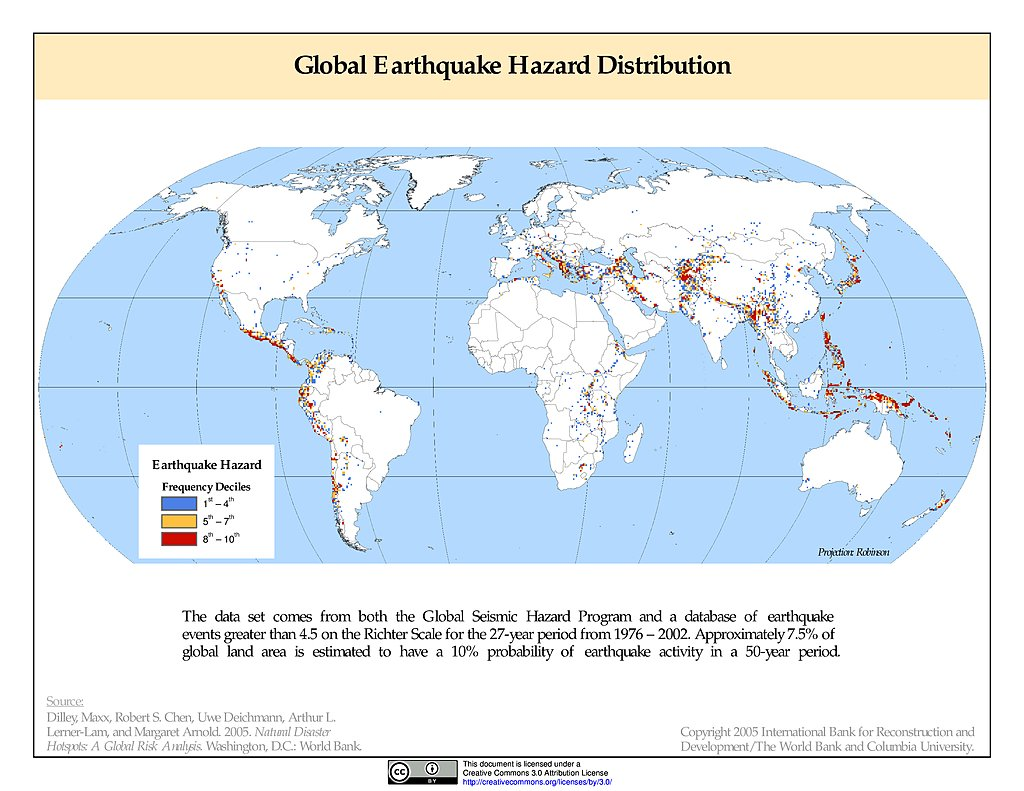 Maps Global Earthquake Hazard Frequency And Distribution V1 Sedac