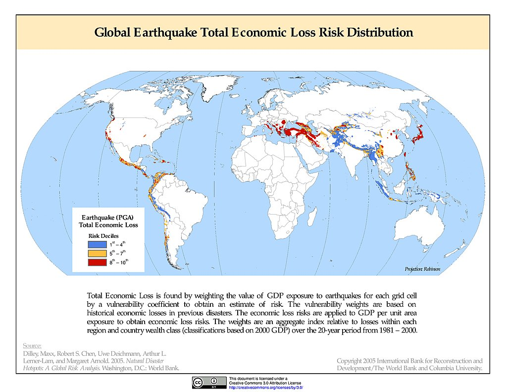 Maps natural disaster hotspots sedac earthquake total economic loss risk deciles gumiabroncs Gallery