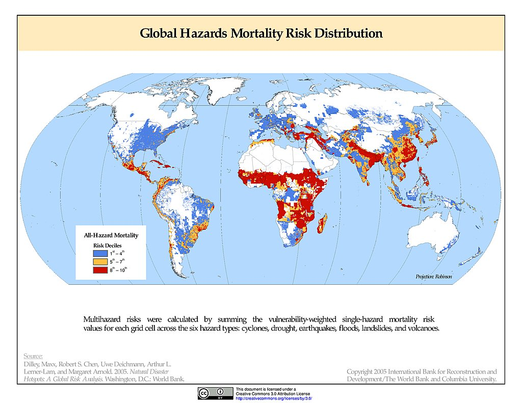 Maps natural disaster hotspots sedac multihazard mortality risks distribution gumiabroncs Choice Image