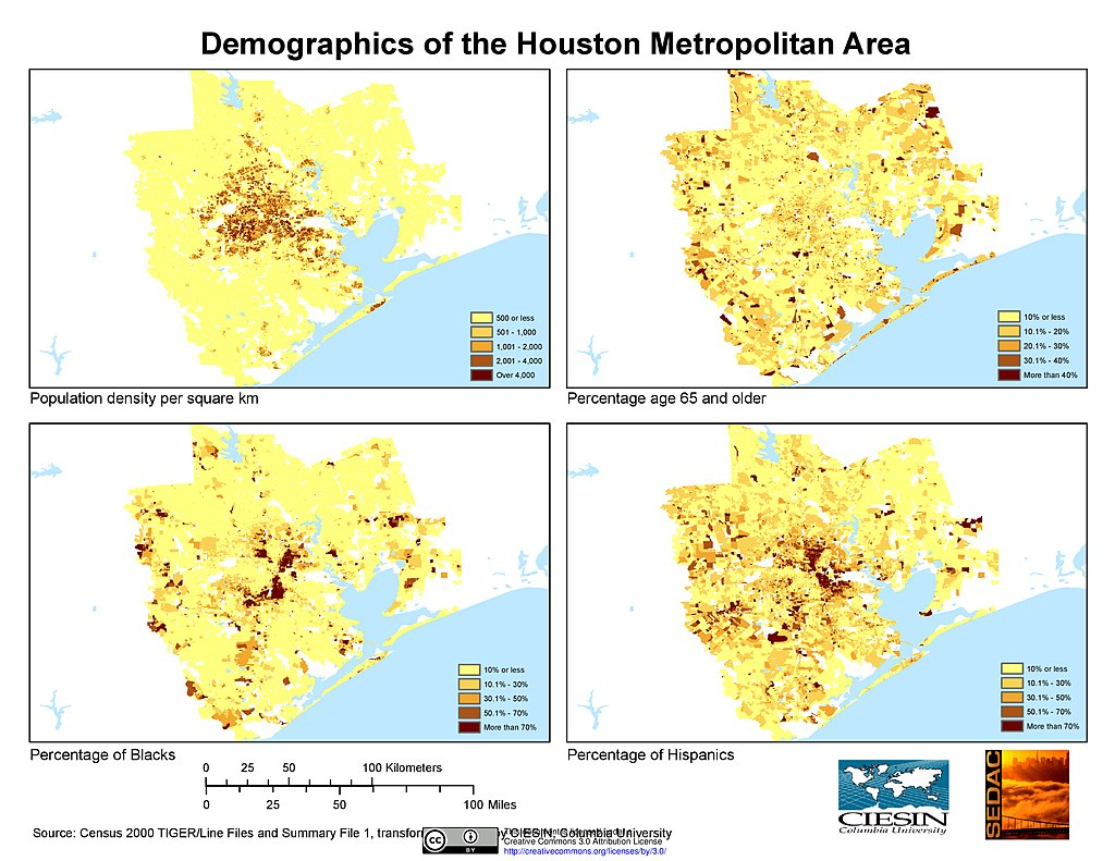 Maps US Population Grids Summary File Houston - Us msa map