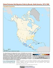 Map: Net Migration (1970-1980): North America