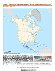 Map: Net Migration (1980-1990): North America