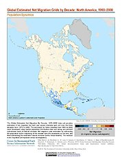 Map: Net Migration (1990-2000): North America
