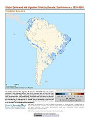 Map: Net Migration (1970-1980): South America