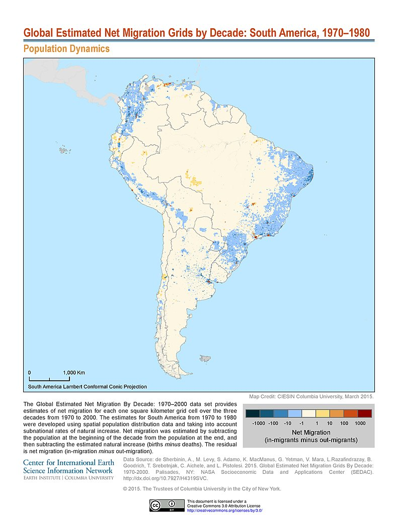 Map Gallery SEDAC - Peru population map 1970