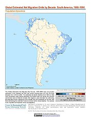 Map: Net Migration (1980-1990): South America