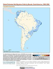 Map: Net Migration (1990-2000): South America