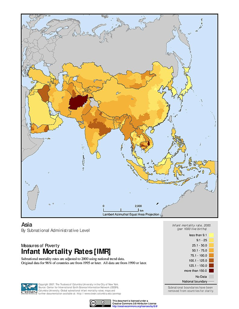 Maps Global Subnational Infant Mortality Rates V SEDAC - Infant mortality map us