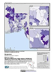 Map: Squared Poverty Gap Index, ADM3: Bangladesh
