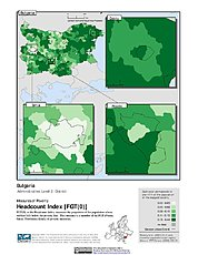Map: Poverty Headcount Index, ADM2: Bulgaria