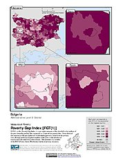 Map: Poverty Gap Index, ADM2: Bulgaria