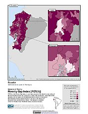 Map: Poverty Gap Index, ADM3: Ecuador