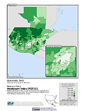 Map: Poverty Headcount Index, ADM2 (2002): Guatemala