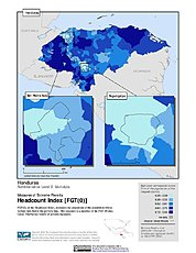Map: Extreme Poverty Headcount Index, ADM2: Honduras