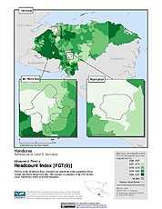 Map: Poverty Headcount Index, ADM2: Honduras