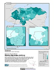 Map: Extreme Poverty Gap Index, ADM2: Honduras