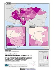 Map: Extreme Squared Poverty Gap Index, ADM2: Honduras