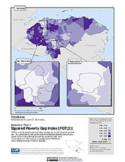 Map: Squared Poverty Gap Index, ADM2: Honduras