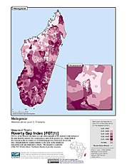 Map: Poverty Gap Index, ADM3: Madagascar