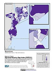 Map: Squared Poverty Gap Index, ADM3: Mozambique