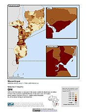 Map: Gini Index, ADM3: Mozambique