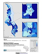 Map: Extreme Poverty Headcount Index, ADM3: Malawi