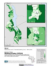 Map: Poverty Headcount Index, ADM3: Malawi