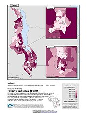 Map: Poverty Gap Index, ADM3: Malawi