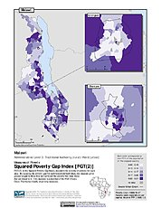 Map: Squared Poverty Gap Index, ADM3: Malawi