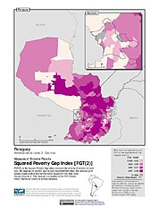 Map: Extreme Squared Poverty Gap Index, ADM2: Paraguay
