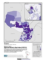 Map: Squared Poverty Gap Index, ADM2: Paraguay