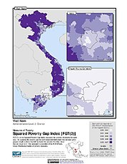 Map: Squared Poverty Gap Index, ADM2: Vietnam